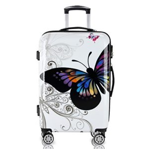 Reisekoffer Hartschalenkoffer Butterfly Hartschale Trolley Koffer Abs Kunststoff Pc Beschichtet Alu Teleskopgriff Gummierte Zwillingsrollen Grenwahl 0